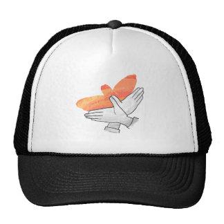 Hand Silhouette Eagle Orange Trucker Hats