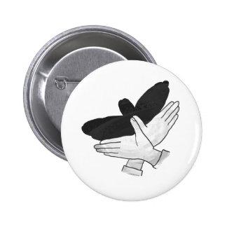 Hand Silhouette Eagle Pinback Button