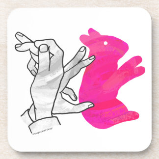 Hand Silhouette Rabbit Pink Beverage Coaster