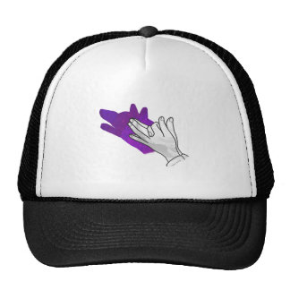 Hand Silhouette Wolf Purple Mesh Hats