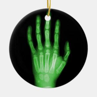 HAND SKELETON green XRAY DARK SCARY HUMAN BREAK BO Ceramic Ornament