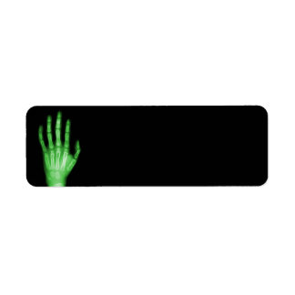 HAND SKELETON green XRAY DARK SCARY HUMAN BREAK BO Return Address Label