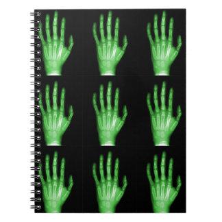 HAND SKELETON green XRAY DARK SCARY HUMAN BREAK BO Notebooks