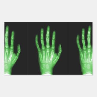 HAND SKELETON green XRAY DARK SCARY HUMAN BREAK BO Rectangular Sticker