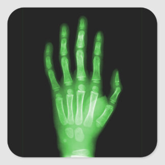 HAND SKELETON green XRAY DARK SCARY HUMAN BREAK BO Square Sticker