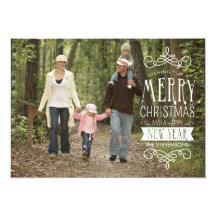 Hand Sketched Banner Holiday Photo Greeting Card Announcement