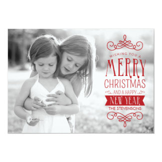 """Hand Sketched Banner in Red Holiday Photo Card 5"""" X 7"""" Invitation Card"""