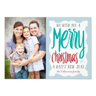 Hand Sketched Christmas Holiday Photo Greeting Card