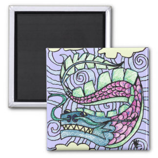 Hand Sketched Flying Dragon 2 Inch Square Magnet