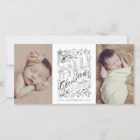Hand Sketched Merry Christmas New Baby Photo Cards