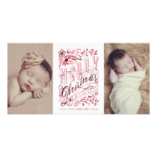Hand Sketched Merry Christmas Vintage Photo Card