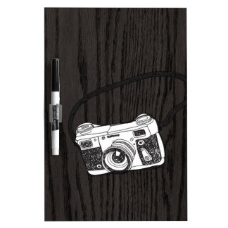 Hand Sketched Retro Camera Dry Erase Whiteboards