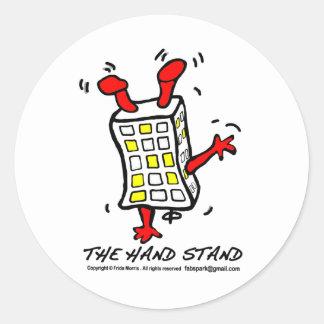 Hand Stand Building Classic Round Sticker
