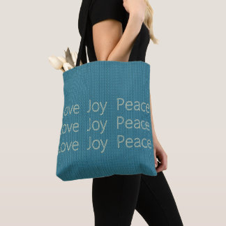 Hand-Stitch*-LOVE-JOY-PEACE-Blue-Everyday-TOTES Tote Bag