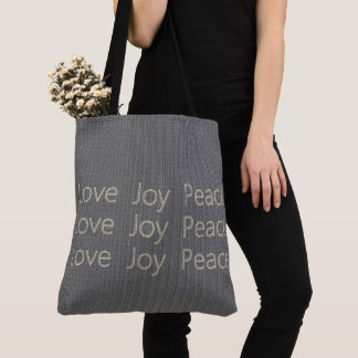 Hand-Stitch*-LOVE-JOY-PEACE-Gray--Everyday-TOTES Tote Bag