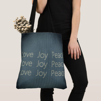 Hand-Stitching*-LOVE-JOY-PEACE-Everyday-TOTES Tote Bag