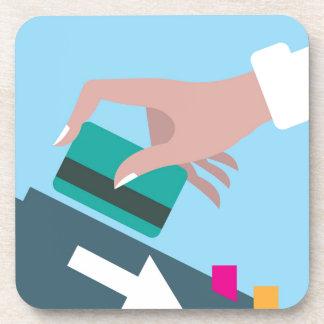 Hand swiping credit card beverage coaster
