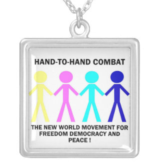 HAND-T0-HAND COMBAT... SQUARE PENDANT NECKLACE