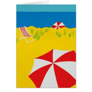 Hand Tempera Painted Beach Scene Card