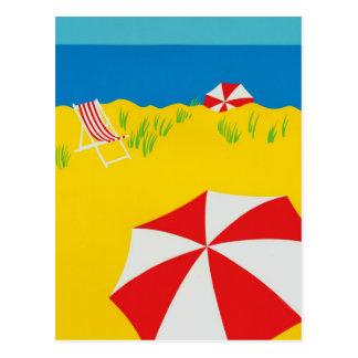 Hand Tempera Painted Beach Scene Postcard