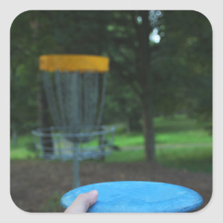 Hand Throwing Blue Flying Disc Square Sticker