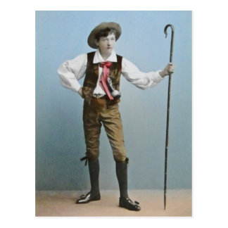 Hand Tinted Lantern Slide Boy From Alps Vintage Postcard