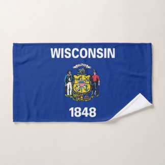 Hand Towel with Flag of Wisconsin State, USA
