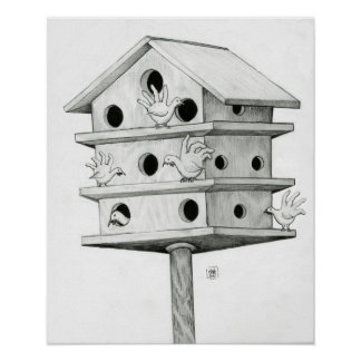 Hand Turkeys At the Birdhouse Poster