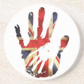 Hand union jack england flag beverage coasters