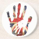 Hand union jack england flag drink coaster