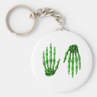 Hand Up Down Deep Green Keychain