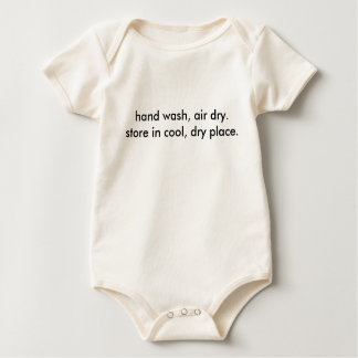 hand wash, air dry. store in cool, dry place. baby bodysuit