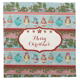Hand Watercolor Christmas Ornaments Holly Striped Cloth Napkin