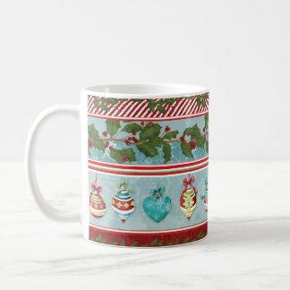 Hand Watercolor Christmas Ornaments Holly Striped Coffee Mug