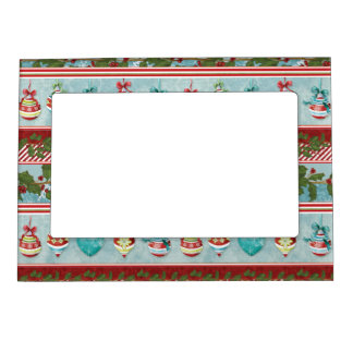 Hand Watercolor Christmas Ornaments Holly Striped Magnetic Photo Frame