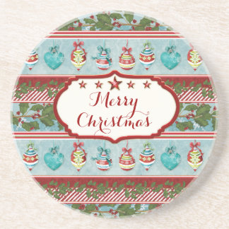 Hand Watercolor Christmas Ornaments Holly Striped Sandstone Coaster