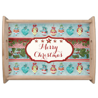 Hand Watercolor Christmas Ornaments Holly Striped Serving Tray