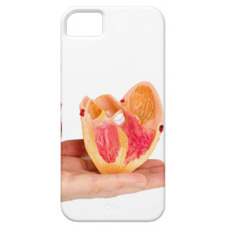 Hand with human heart model on white background.jp iPhone SE/5/5s case