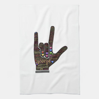 Hand with inspirational text hand towel