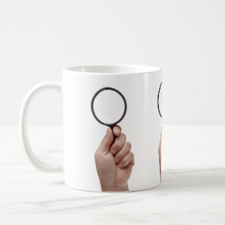 HAND WITH MAGNIFYING GLASS CLASSIC WHITE COFFEE MUG