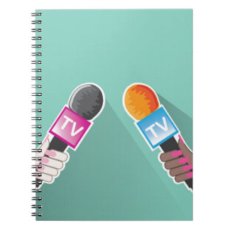 Hand with TV microphone Notebook