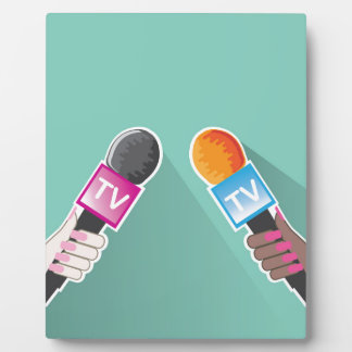 Hand with TV microphone Plaque