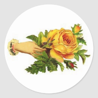 Hand with yellow roses sticker