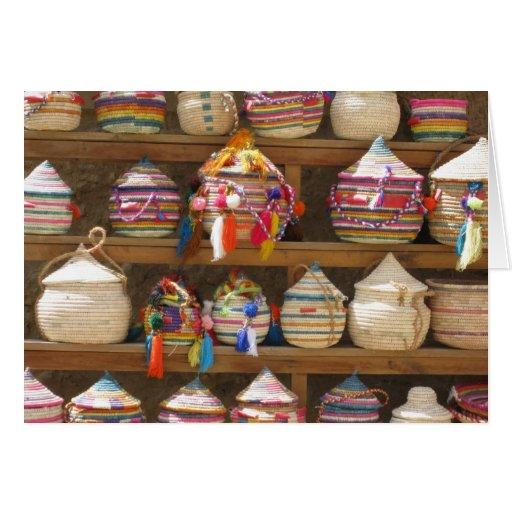 hand woven baskets, Siwa Oasis, Egypt Greeting Card