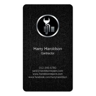 Hand Wrench Black Grunge Contractor Business Card