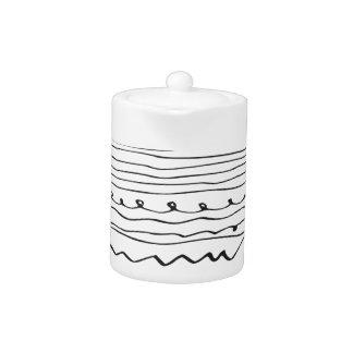 hand written lines teapot