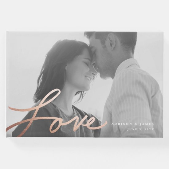 Hand written love wedding guest book | faux foil