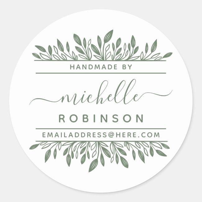 Hand-written Name Sage Green Botanical Handmade By Classic Round Sticker