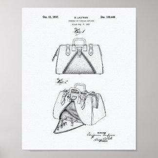 Handbag 1937 Patent Art White Paper Poster