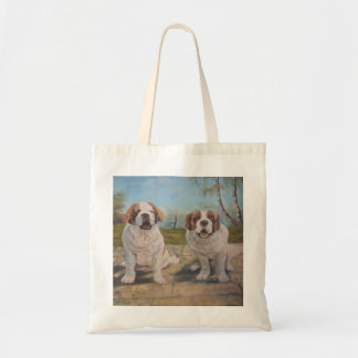 Handbag Ann Hayes Painting Two St Bernards Budget Tote Bag